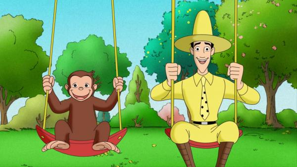 Swing into Spring with Curious George and the Man in the Yellow Hat.
