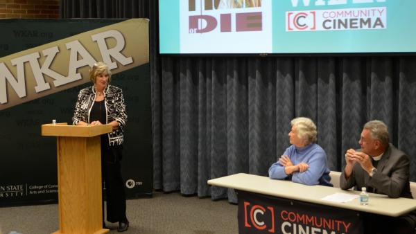 Judy Karandjeff moderates the Community Cinema discussion featuring Penny Garner and Gordon Weller.