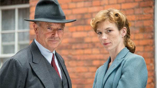 Michael Kitchen and Honeysuckle Weeks as Foyle and Sam