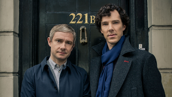 John Watson and Sherlock Holmes in the doorway at 221B Baker Street