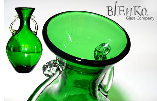 Green vase with two handles