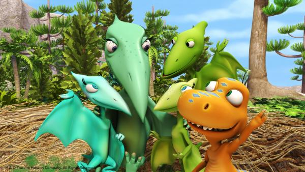 Colorful group of cartoon dinosaurs
