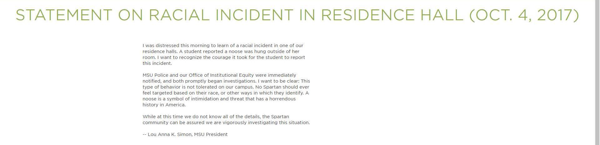 Police Say Noose Found At Msu Residence Hall Was Actually