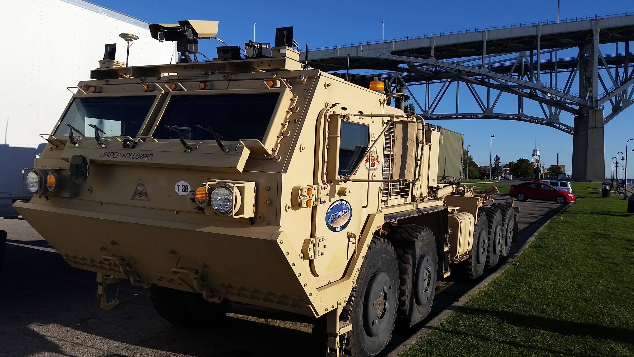 the army is testing a leader follower system that will one day employ up to eight convoy vehicles
