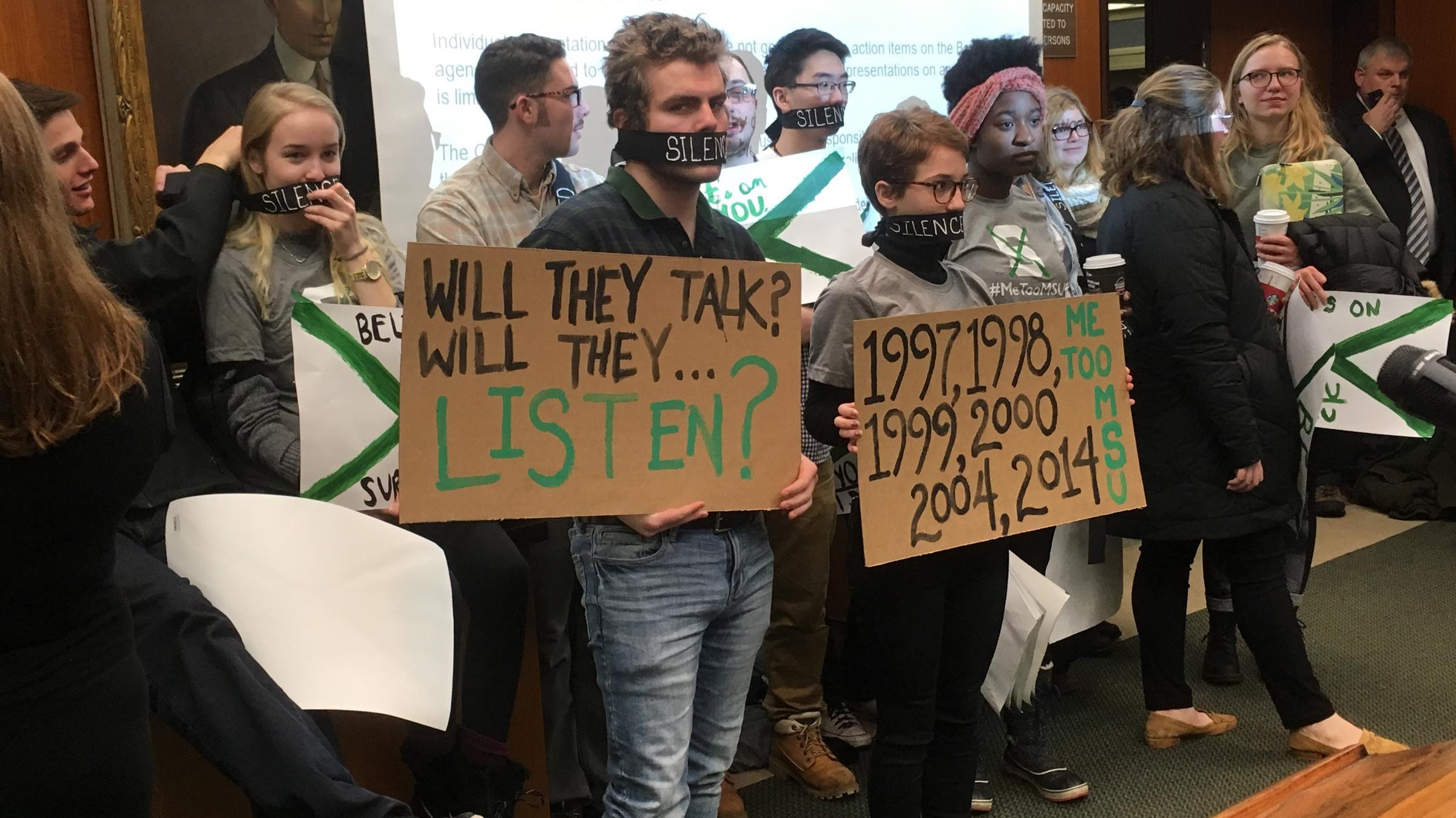 Victims of Larry Nassar confront MSU Board