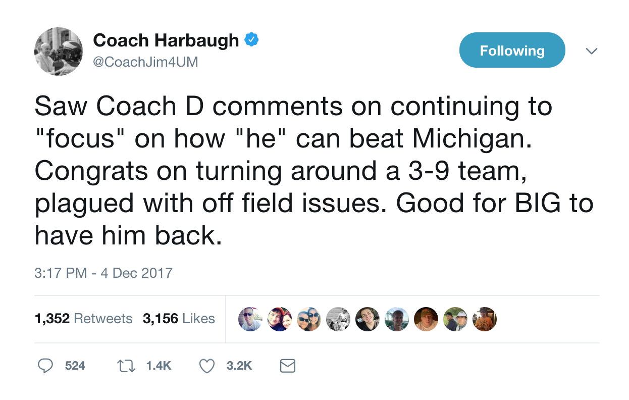 UM's Harbaugh takes Twitter dig at MSU's Dantonio