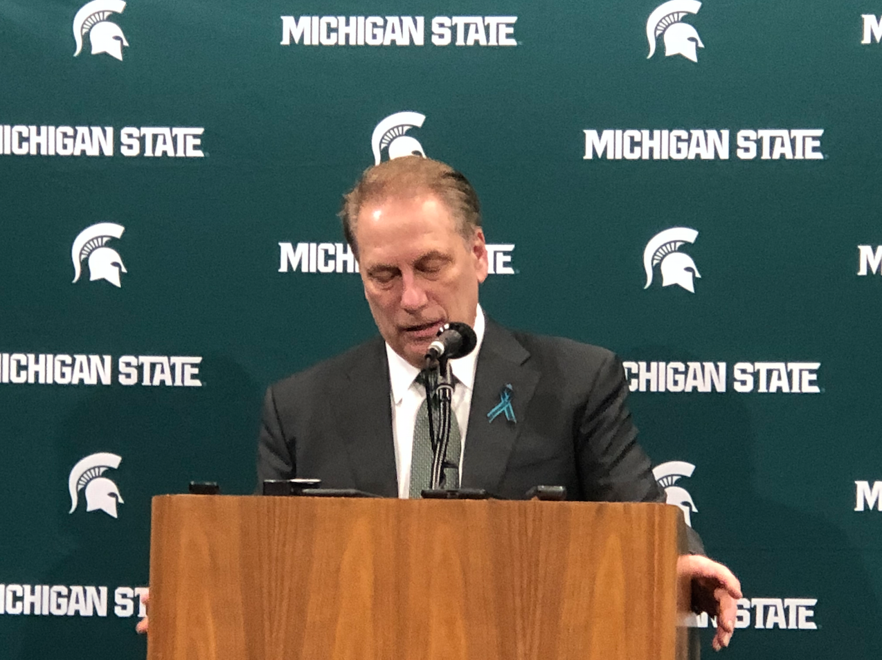 MSU men's basketball coach Tom Izzo addresses the media after Wednesday night's win over Penn State