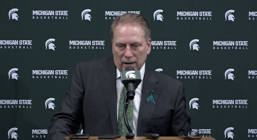 MSU men's basketball coach Tom Izzo speaks to the media after learning of his NCAA tournament bid on Selection Sunday
