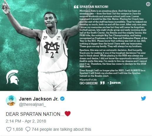 Michigan State's Jaren Jackson Jr. to enter National Basketball Association draft