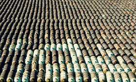 Depleted uranium cylinders stored at PGDP