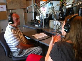Jim Nance, left, speaks with Angela Hatton in WKMS's Studio A.