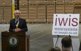 Gov. Steve Beshear announces iwis' $12.5 million investment in a Murray plant.