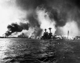 The U. S. S. California sinking at Pearl Harbor.