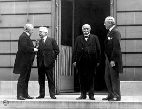 'The Big Four' (L-R) PM David Lloyd George (Great Britian) Prem. Vittorio Orlando (Italy) Prem. Georges Clemenceau (France), Pres. Woodrow Wilson (US)