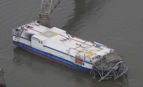 The cargo vessel Delta Mariner following its January 2012 collision with the Eggners Ferry Bridge over Kentucky Lake