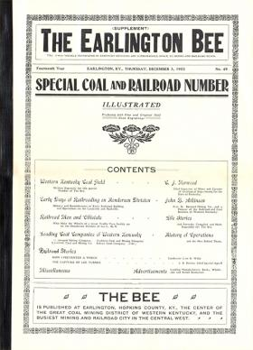 1910 Special edition of the Earlington Bee.