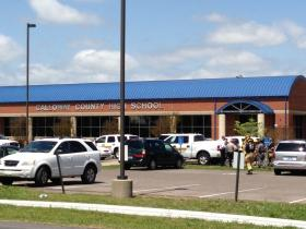 Emergency vehicles outside of Calloway HS during previous bomb threat.