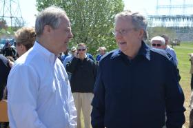 Congressman Ed Whitfield talks with Senator Mitch McConnell at the Freedom to Fish Rally Saturday.