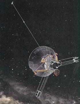 Artist depiction of Pioneer 10 in deep space