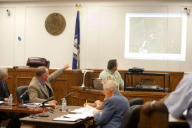 McCracken County Commissioner Ronnie Freeman discusses the the Road Supervisor's report Monday, Aug. 26 during McCracken County Fiscal Court at the McCracken County Courthouse.