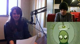 Kayla Eicholtz on the left, David Firth on the top right, and a screen from his cartoon, Salad Fingers. Photos on the right from fat-pie.com