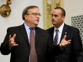 FRANKFORT— Senate President Robert Stivers, R-Manchester (left), confers with Senate Democratic Floor Leader R.J. Palmer, D-Winchester, prior to the start of the day's legislative session in the Kentucky Senate.