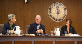 From left to right, Commissioner Allan Rhodes, Parks and Recreation Director Mark Thompson and Mayor Gayle Kaler wrap up Tuesday's City Commissioner's meeting at City Hall.