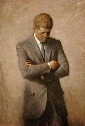 The official White House portrait of President John Fitzgerald Kennedy