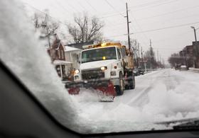Snow plow in downtown Paducah.