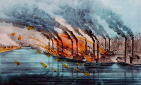 Bombardment and capture of Fort Henry, 1860s lithograph by Currier and Ives