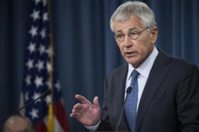 Defense Secretary Chuck Hagel briefs reporters on his recommendations to President Barack Obama for the fiscal year 2015 budget at the Pentagon, Feb. 24.