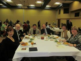 Beasley Banquet 2013, with Marjorie Hilton, Ted Brown, Terry Strieter, Sara Fineman and Kathy Callahan.