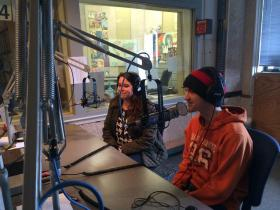 Alix Bloodworth (Director), Noah VandenBosch (Templeton) visit the WKMS studio to preview Charlotte's Web at Playhouse in the Park.