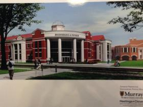 A rendering of the new Engineering and Physics Building, planned to  rest southeast of MSU's Jesse D. Jones Hall.