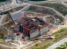 Aerial photo of construction at Smithland
