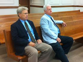 Van Newberry (left) and Doug Harnice sitting in McCracken County Circuit Court