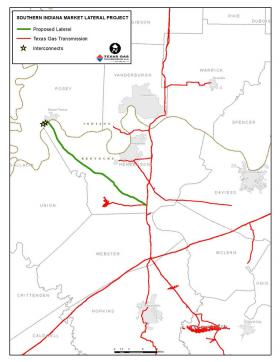 The green line is the proposed route for the Southern Indiana Market Lateral.