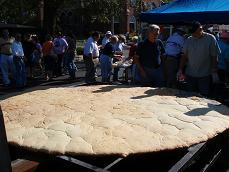 The 10.5 foot biscuit after it has been removed from the oven.