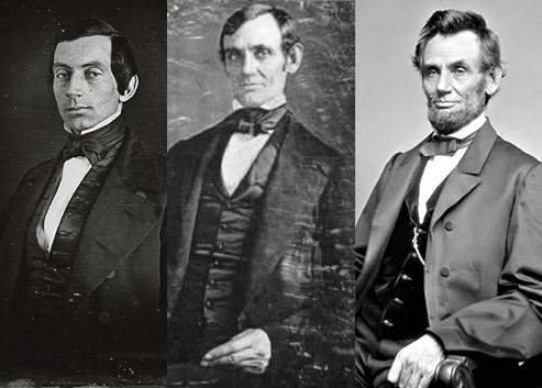 From the left: photo of young Lincoln in question, earliest confirmed photo of Lincoln, popular picture of older Lincoln