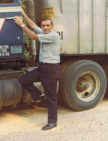 Russell Thompson outside his rig in 1970.