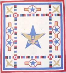 ?Wings Over All?, maker unknown. This pattern was published by Mountain Mist on batting wrappers in 1943 to honor the US Army.