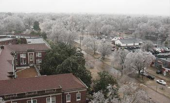 2009 ice storm as seen from the east balcony at WKMS