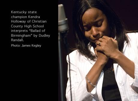 Culture Moment: Kendra Holloway of Christian County High School was Poetry Out Loud's 2006 Kentucky state champion.