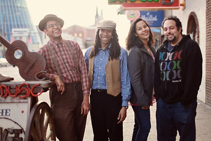 Carolina Chocolate Drops (left to right: Dom Flemons, Hubby Jenkins, Rhiannon Giddens, Adam Matta)