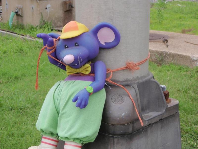 A plastic rat outside the Honeywell Metropolis plant entrance.