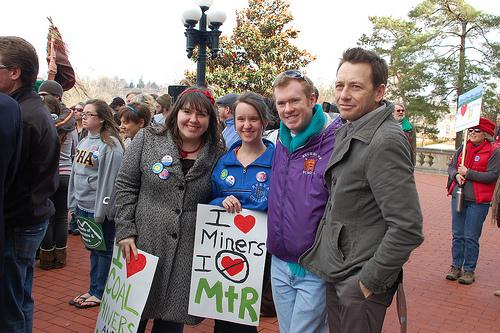 Kentucky author Silas House, right, with protesters at last year's I Love Mountains Day in Frankfort.
