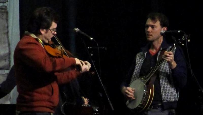 Jeremy Garrett (fiddle) and Chris Pandolfi (banjo) soundcheck before their show at Marathon Music Works.