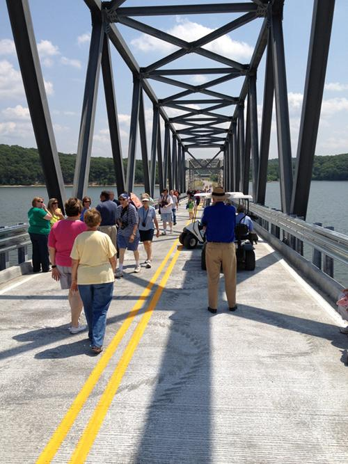 Walking across the newly repaired Eggners Ferry Bridge