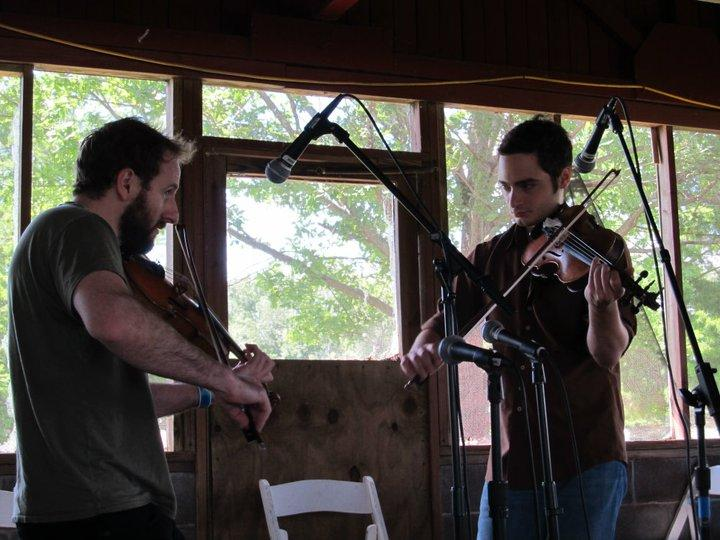 Scott Moore (right) and Gabe Witcher leading the fiddle workshop at ROMP 2011.