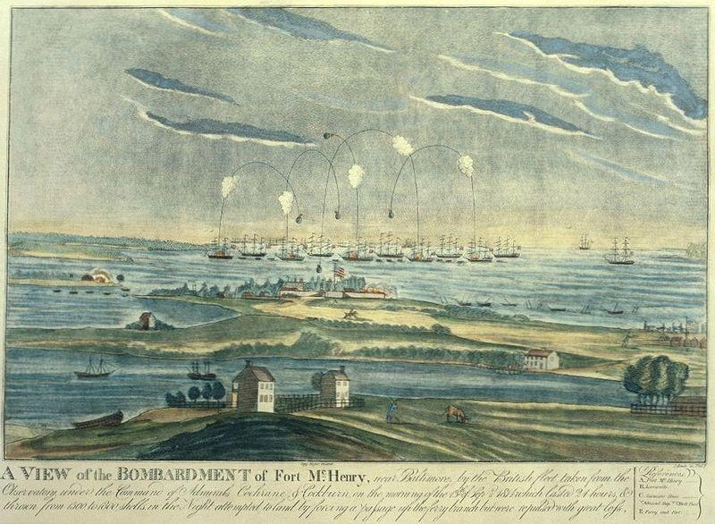 "The Bombardment of Fort Henry, inspiring ""The Star Spangled Banner"""